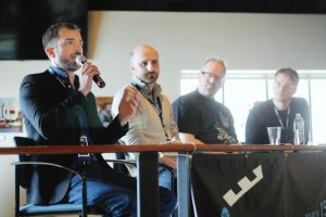 Troy Parkinson of Minnesota Film and TV (left) discusses funding options in the state of Minnesota as filmmakers Michael Forstein, Matt Myers and Shane Reetz look on during a Fargo Film festival panel discussion. John Lamb / The Forum