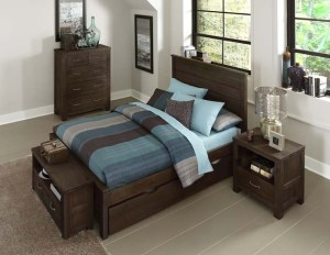 Highlands Collection, Alex Panel Bed in Espresso Finish with Under Bed Trundle
