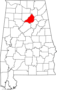 Map of Alabama highlighting Blount County.