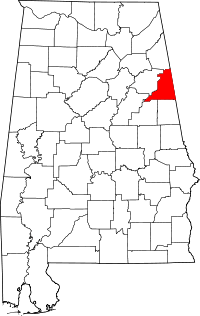 Map of Alabama highlighting Cleburne County.