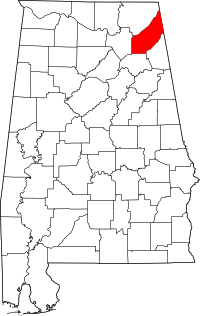 Map of Alabama highlighting DeKalb County.