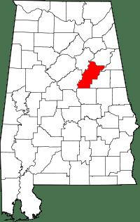 Map of Alabama highlighting Talladega County