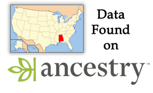 Alabama (outlined on a USA 48-state map) data found on Ancestry
