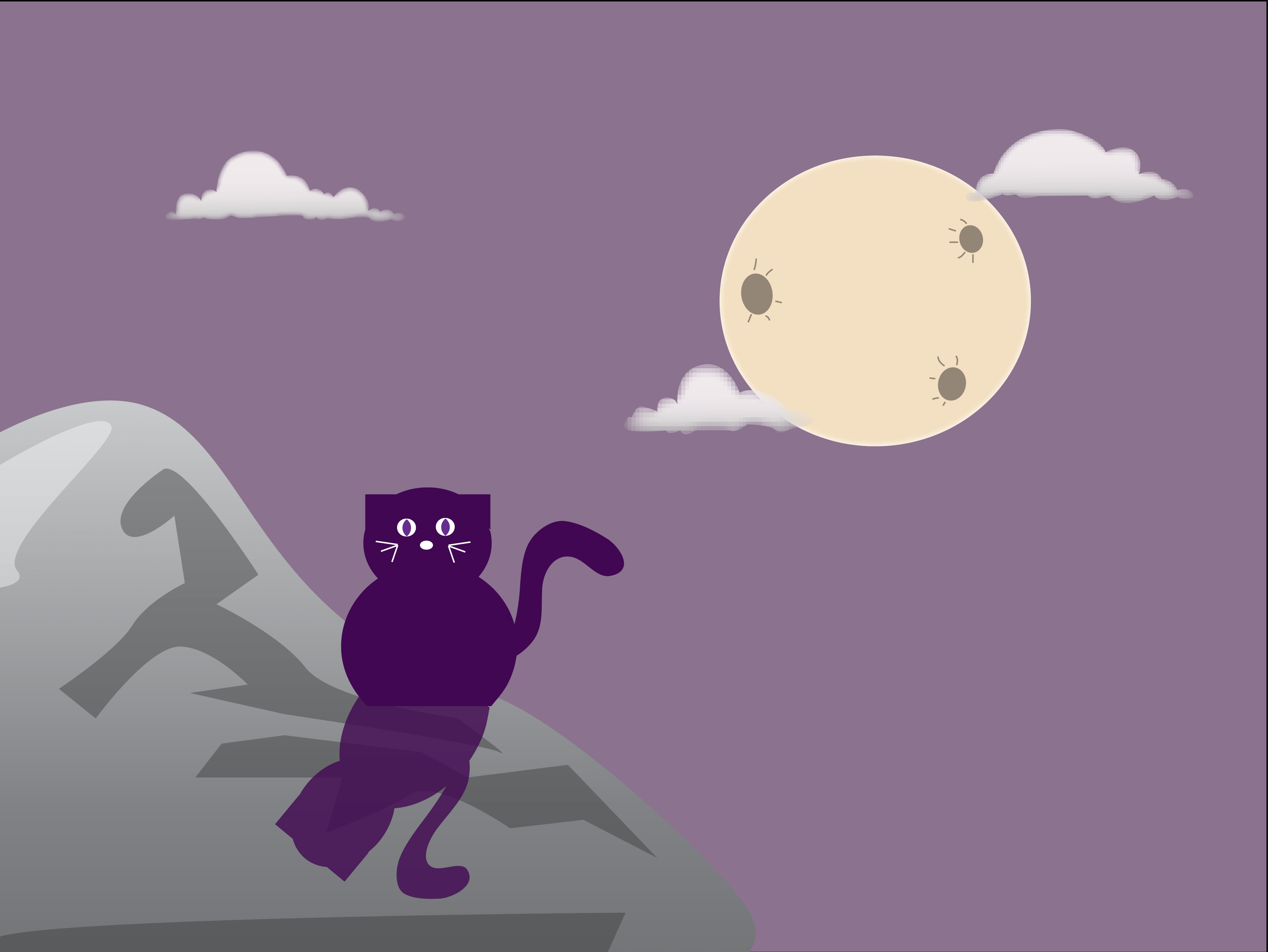 Illustration of a cat sitting under the moon