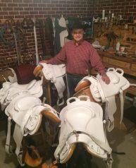 White Trick Riding Saddles