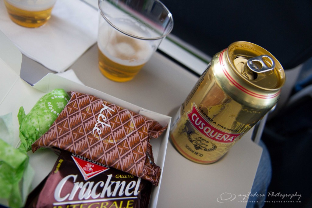 The in flight meal and free Peruvian beer on LAN airlines (http://www.lan.com/) on our flight from Lima to Cusco.
