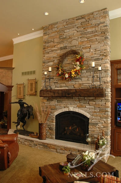 Great Room Floor To Ceiling Stone Fireplace Withamsville OH