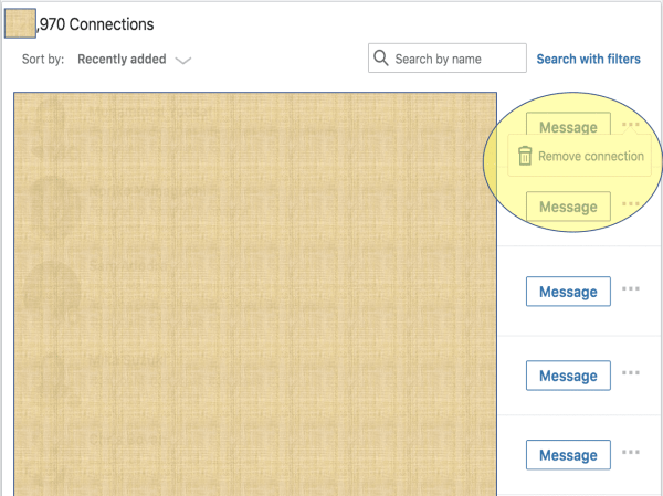 Remove a LinkedIn connection from My Network Connections view