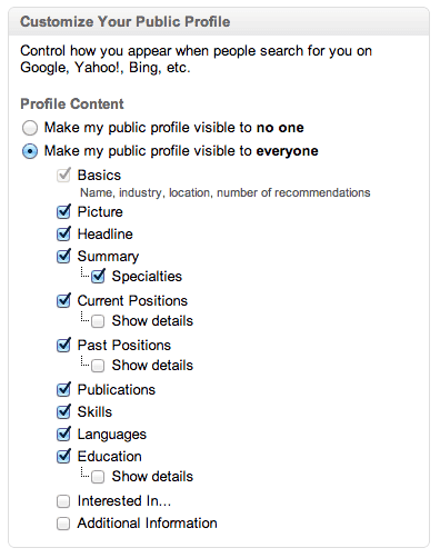 new linkedin profile search engine settings