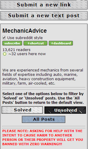 mechanicadvice rules what is a subreddit example