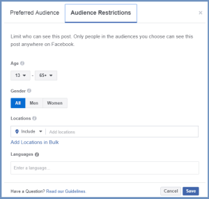 audience restrictions for increased engagement for your facebook engagement posts