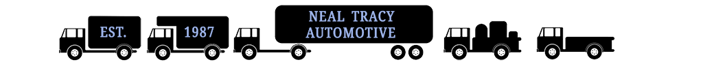 illustrated five trucks side with text Neal Tracy Automotive est. 1987
