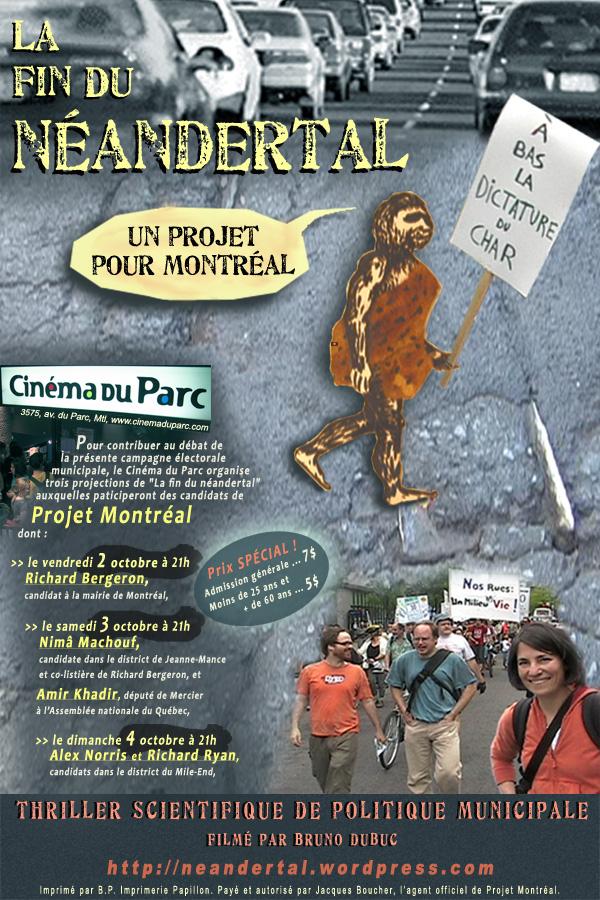 Affiche La fin du néandertal 2-3-4 oct cinéma du Parc