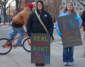 Supporters attended a vigil outside the State Capitol on January 11, 2015 to remember victims of human trafficking.