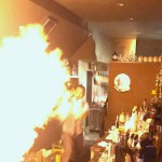 Fire cocktail show at the Flair Bar in central Utsunomiya