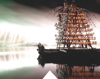 River festival floats and fireworks at Nagatoro Funatama Festival in Chichibu, Saitama