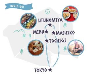 Itinerary from Tokyo route 001 (Tochigi, Mibu, Utsunomiya, and Mashiko)