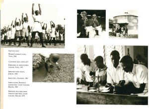 The poster shows the legacy of Near East Relief in supporting different communities. Beneficiaries in the photos attending different classes including sports, agriculture, and research laboratories in Malawi.