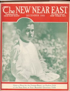 New Near East magazine cover featuring an orphan boy. Children were a popular cover theme.