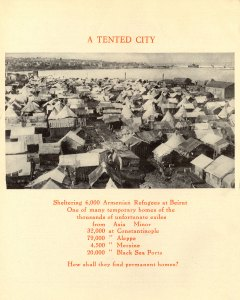 Tents in Beirut sheltering Armenian refugees in Syria. The photo in the magazine shows the tents located close to the seaside.