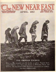The magazine covered important developments, like the evacuation of orphans from the Turkish interior after the burning of Smyrna. New Near East magazine cover featuring child refugees.
