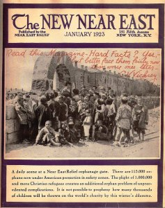 New Near East magazine cover featuring children waiting at the gates to the orphanage at Alexandropol (now Gyumri), Armenia.