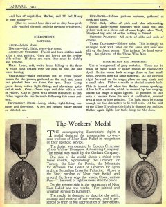 An article described the workers' medal designed by Walter Thompson to overseas workers of Near East Relief in recognition of their splendid service.