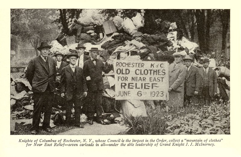 Knights of Columbus of Rochester, NY, gathered seven carloads of clothes for their 1923 Bundle Day.