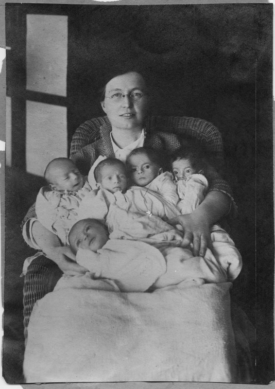 Dr. Ruth Parmelee with Armenian babies at the American Hospital in Harput, Turkey. Dr. Parmelee joined Near East Relief through American Women's Hospitals organization.