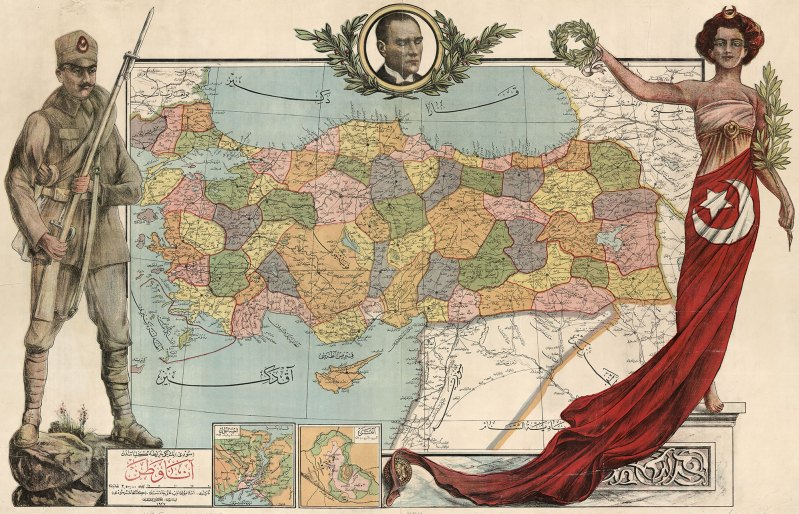This map of the modern Republic of Turkey features a soldier and a woman draped in the Turkish flag, watched over by Kemal Pasha Atatürk.