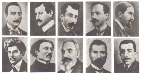 Victims of the April 24, 1915 attack on the Armenian intellectual class. The Soviet Armenian Encyclopedia, Vol. 71.