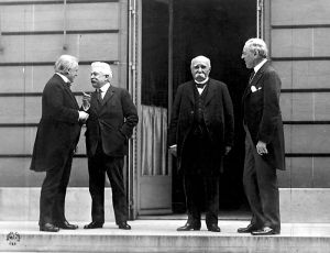 From left to right, Britain's David Lloyd George, Vittorio Emanuele Orlando of Italy, France's George Clemenceau, and Woodrow Wilson of the U.S.