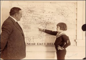 Jackie Coogan discusses his campaign with William A. Biby, Near East Relief's Kansas director, 1924