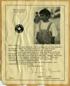 Near East Relief appeal letter from New York state director Irving Gumb featuring a little boy in an orphanage outfit.