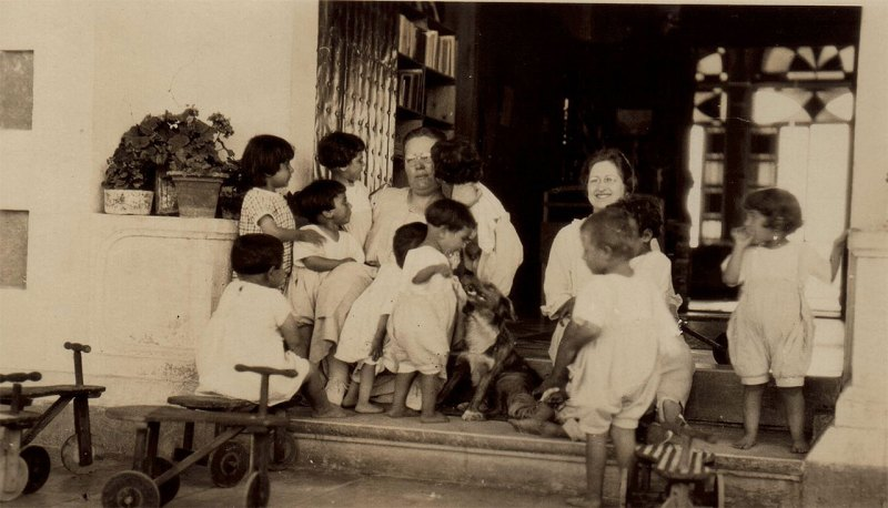 Maria Jacobsen and Nellie Miller with Birds' Nest children. Maria Jacobsen was a Danish relief worker who adopted three orphans into her own family. Nellie's original caption reads: