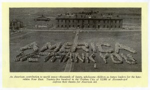 Children at Seversky Post orphanage in Alexandropol spell out a message for their American benefactors. This iconic photograph was used in thank-you letters, brochures, and publications like The New Near East.