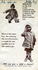 Pamphlet featuring a child named Melkon, before and after Near East Relief