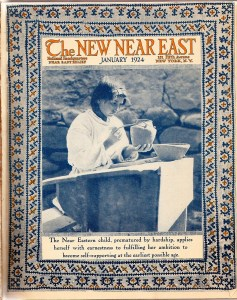 New Near East magazine cover featuring a young woman painting pottery. The cover also includes a printed embroidered border reminiscent of the work done by children and adult refugees for Near East Industries. The magazine covers often showcased Near East Relief beneficiaries training in