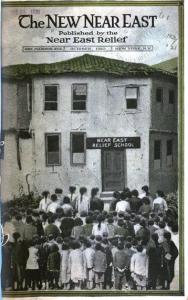 New Near East magazine cover showing children entering a building marked