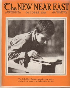 New Near East magazine cover featuring a studious orphan. This issue included a special supplement on the burning of Smyrna, which had happened the previous month. That event would shape Near East Relief's work for the foreseeable future.