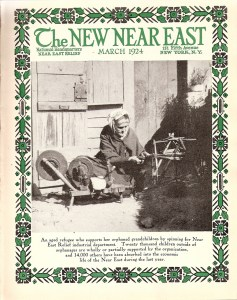New Near East magazine cover showing an older refugee woman spinning in order to support her family. Although the magazine usually featured children or young people, on occasion the New Near East cover would highlight an adult. Covers like this one served as a reminder of Near East Relief's work with adult refugees -- mainly women with children -- who found employment with Near East Industries. The women often picked up supplies and then worked from home in order to supervise their children.