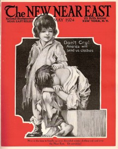 New Near East magazine cover featuring a drawing of children in ragged clothes as a reminder to donate used clothing to Near East Relief. The covers usually featured photographs, but some issues took a more artistic approach.