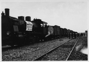 Near East Relief train with banner in Beirut.