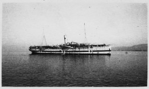 Refugee relief ship from H.C. Jaquith's collection. Given his role in the population exchange between Greece and Turkey, the ship may be carrying people bound for resettlement.