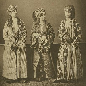 Studio portrait of Muslim, Kurdish, and Armenian traditional clothing