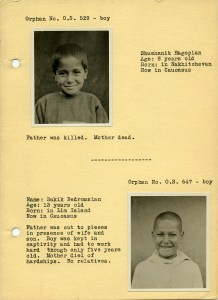 Page from a rare orphan booklet probably used for sponsorship. This page features Shushanik Hagopian and Bakik Bedrosian.