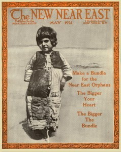 New Near East magazine cover featuring a child in ragged clothing. The cover advertises Bundle Day. Local chapters of Near East Relief organized Bundle Days to collect old clothing for shipment to the Near East. Refugee women were paid to