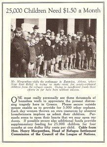 Ad calling for donations featuring Henry Morgenthau with orphans at Zappeion