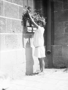 A barefoot girl in a white orphanage dress reaches for a flower from a window box.