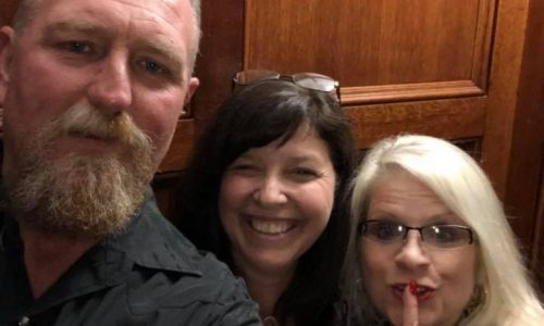 (From the left) Tim Loggains, suspect Becky O'Donnell, and Linda Collins, who was found murdered June 4.